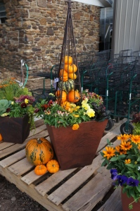 Fall patio pot with pumpkin tower