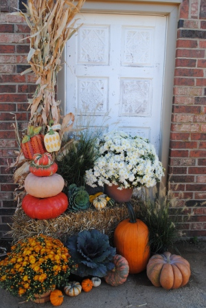 pumpkins stacked for Fall decor